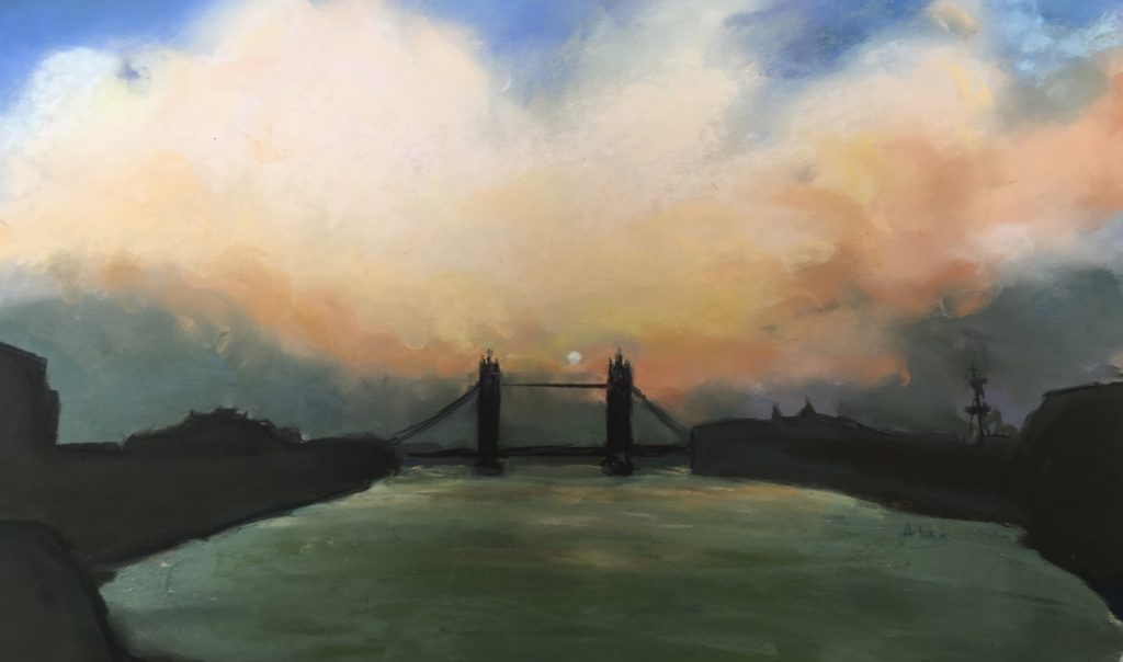 London Sunrise, Tower Bridge. (pastel)